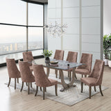 Benoit 9 Piece Dining Set, Dark Brown Fabric & Gray Wood