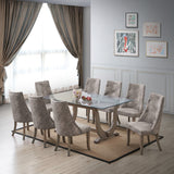 Benoit Dining Chairs, Gray Fabric & Gray Wood