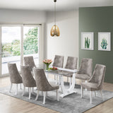 Benoit Dining Table, White Wood & Clear Tempered Glass