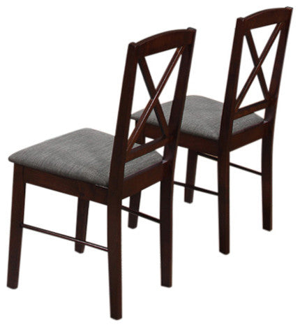 Lucca Dining Chairs, Cappuccino Wood & Gray Polyester