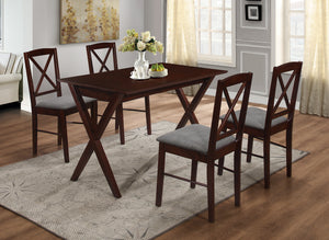 Lucca Dining Set, Cappuccino Wood & Gray Polyester