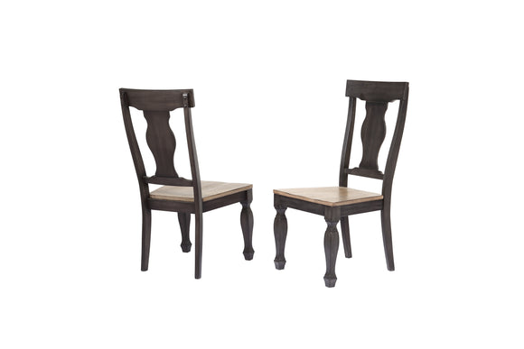Nysha Dining Chairs, Charcoal & Oak Wood