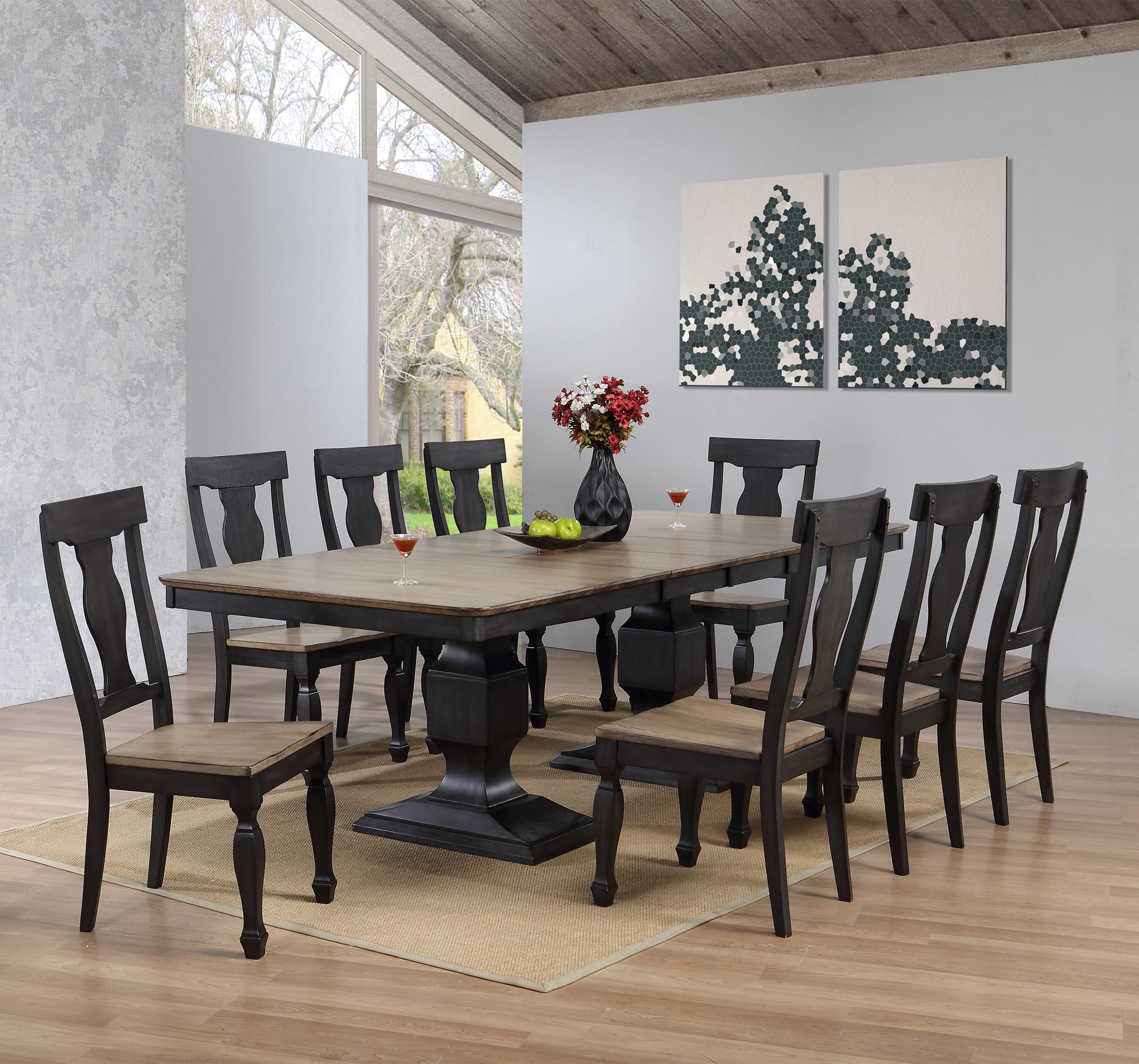 Charcoal Oak Wood Transitional Rectangle Dining Room Table Chairs With Wine Rack Buffet