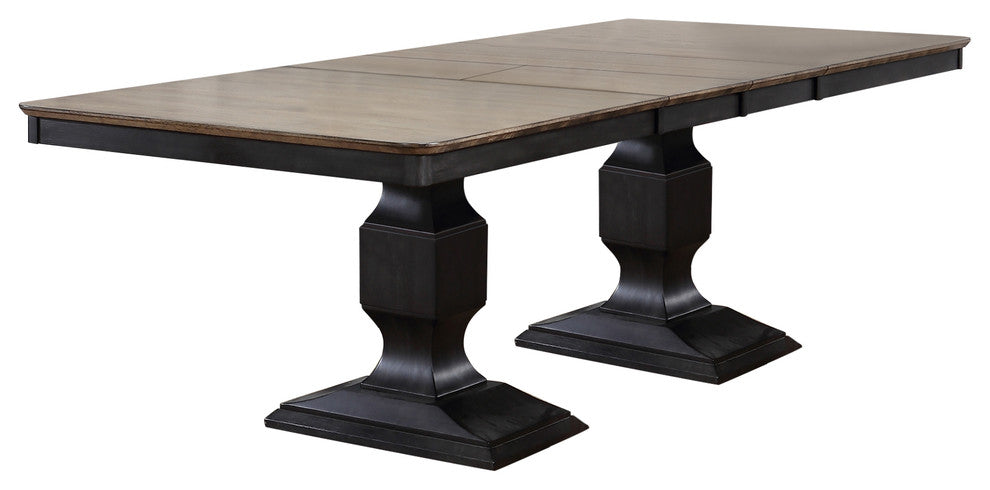 Nysha Charcoal Oak Wood Transitional Rectangle Formal Dining Room Set Optional Table With 2