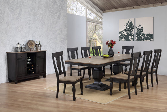 Nysha Charcoal & Oak Wood Transitional Rectangle Formal Dining Room Set (Optional Table With 2 x 15