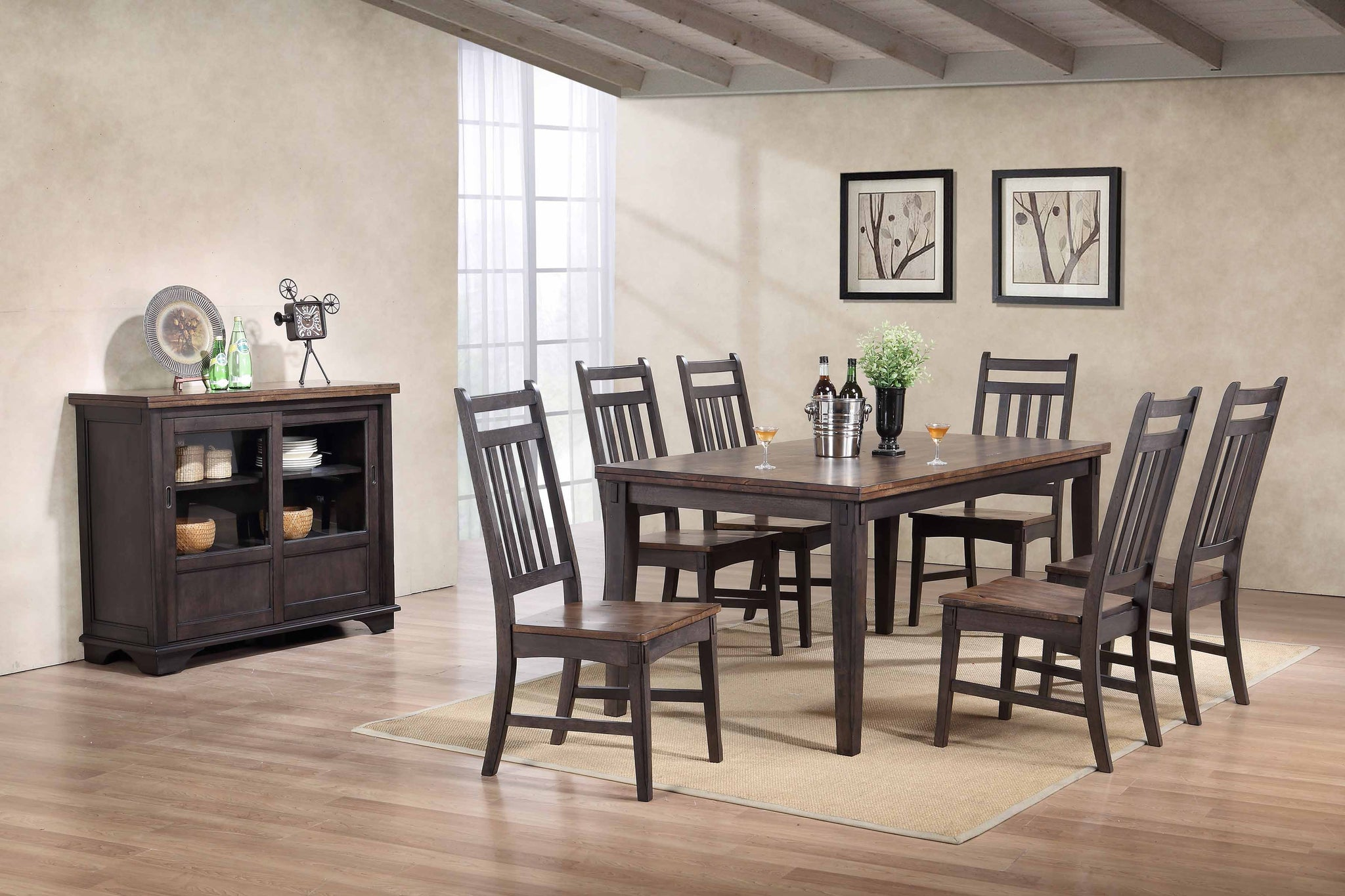 Kara Gray Brown Wood Transitional 72 Rectangle Kitchen Dinette Formal Dining Room Set