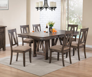 Oslo 7 Piece Dining Set, Brown Wood & Polyester