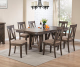 Oslo 7 Piece Dining Set, Brown Wood & Fabric