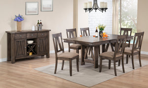 Oslo 8 Piece Dining Set, Brown Wood & Fabric