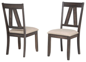 Oslo Dining Room Chairs, Brown Wood & Fabric, Transitional, (Set Of Two)