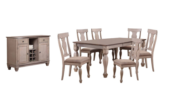 Joanna 8 Piece Dining Set, Brown Wood & Fabric