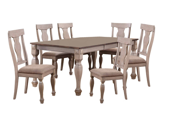 Joanna 7 Piece Dining Set, Brown Wood & Fabric