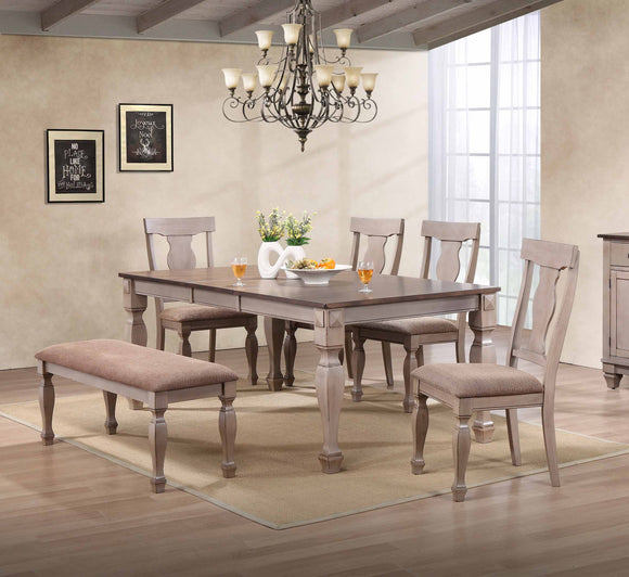 Joanna 6 Piece Dining Set, Brown Wood & Fabric
