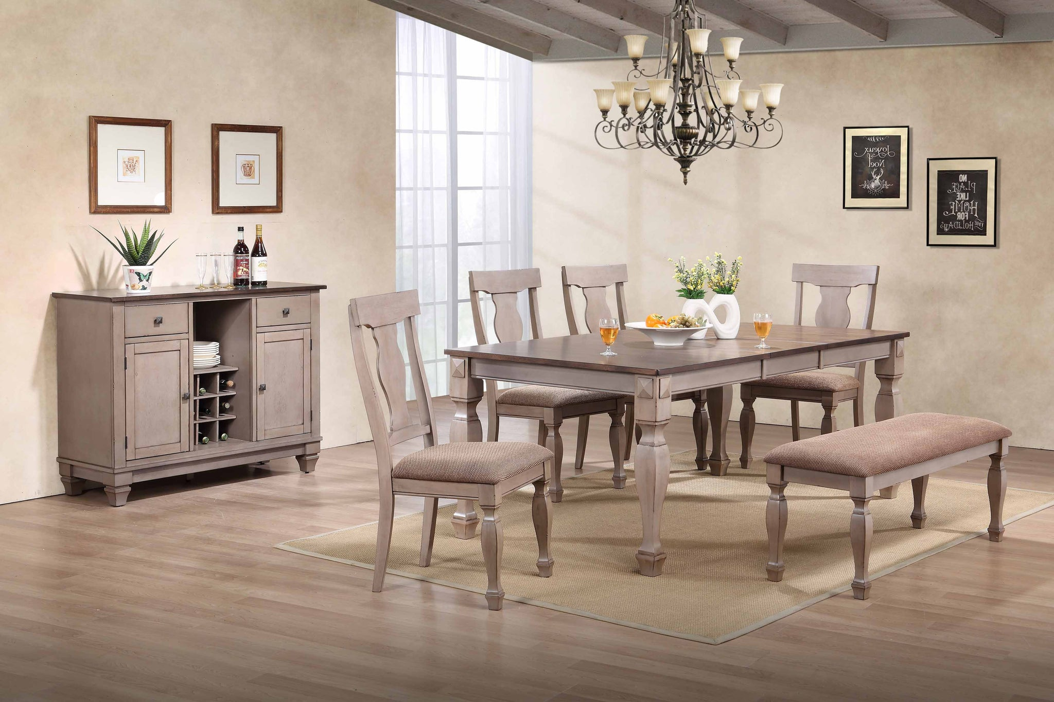 oak east bench com west amazon room table piece kitchen furniture set dp dining w with
