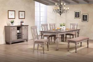 "Joanna 2 Tone Brown Wood Transitional Rectangle Formal Dining Room Set (Optional Table With 18"" Butterfly Extension Leaf, Chairs, Bench & Buffet Server) - Pilaster Designs"