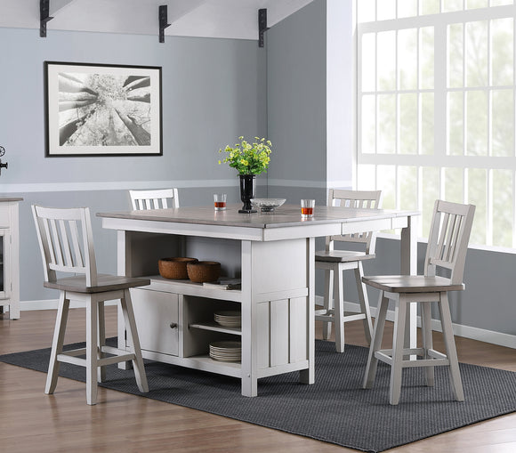 Millport 5 Piece Counter Height Dining Set, White & Wash Gray Wood