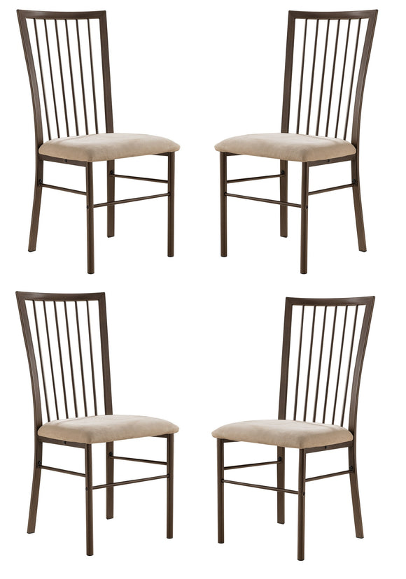 Alfred Dining Chairs, Copper Metal & Brown Microfiber