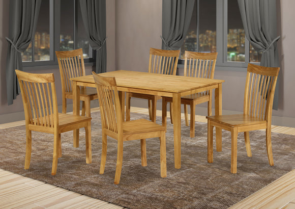 Tanya 7 Piece Dining Set, Natural Oak Solid Wood