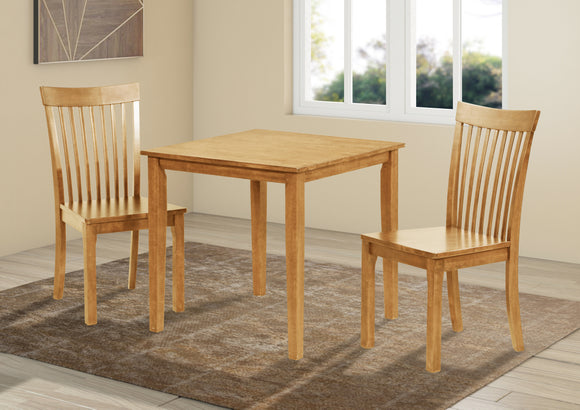 Tanya 3 Piece Dining Set, Natural Oak Solid Wood