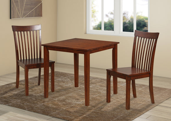 Tanya 3 Piece Dining Set, Cappuccino Solid Wood