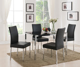 Leina Dining Table, Chrome Metal & Black Tempered Glass