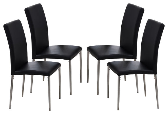 Leina Dining Parsons Chairs, Black Vinyl & Chrome Metal
