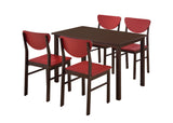 Lori Retro Dining Set, Walnut & Red Wood