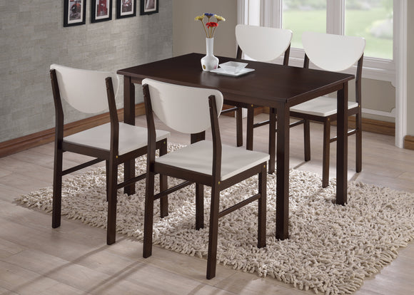 Lori Retro Dining Set, Walnut & White Wood