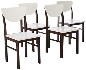 Lori Retro Dining Chairs, White & Walnut Wood