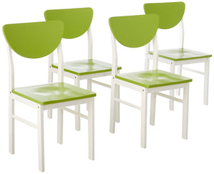 Lori Retro Dining Chairs, Green & White Wood
