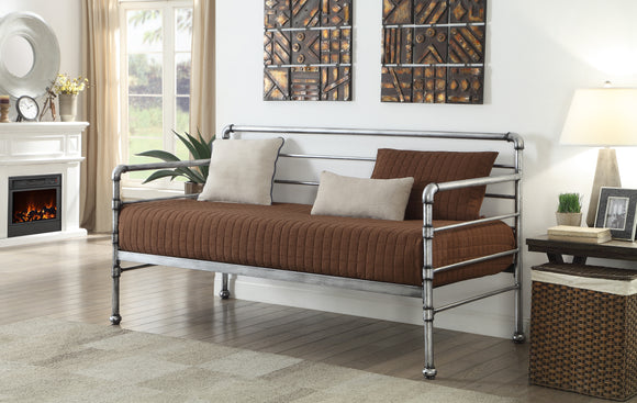 Letch Twin Size Brushed Silver Metal Industial Style Daybed Frame (Optional Trundles & Mattress) - Pilaster Designs