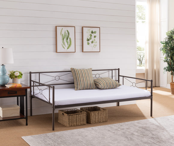 Eden Twin Size Pewter Metal Modern Daybed Frame (Optional Trundles & Mattress) - Pilaster Designs