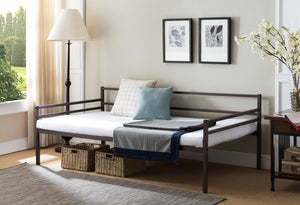 Jeru Twin Size Bronze Metal Modern Daybed Frame (Optional Trundles & Mattress) - Pilaster Designs
