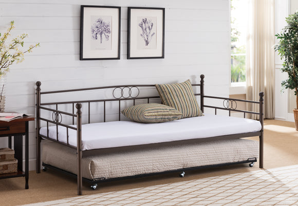 Molly Twin Size Pewter Metal Modern Daybed Frame (Optional Trundles & Mattress) - Pilaster Designs