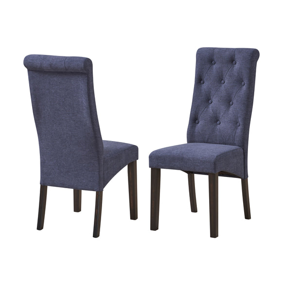 Huxley Dining Chairs, Blue Fabric & Black Wood