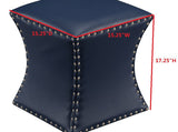 Rylen Ottoman Footstool, Blue Faux Leather