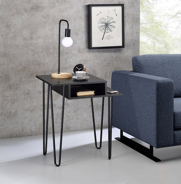Westin Side Table, Black Wood & Metal