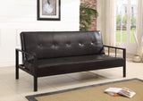 Lamas Black Faux Leather Klik Klak Sofa Futon Sleeper Bed With Adjustable Back (Heavy Duty Metal Frame) - Pilaster Designs