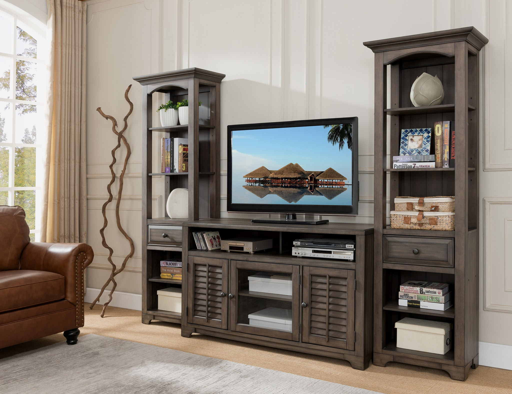 Alois Distressed Gray Wood Rustic 55 Quot W Entertainment