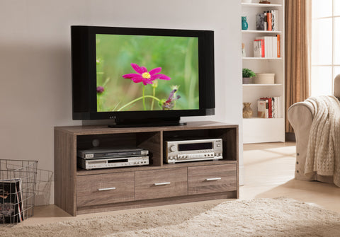 47 Grey Wood Modern Entertainment Center TV Console Stand With Storage Drawers Shelves