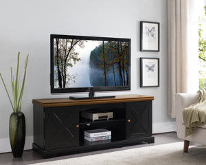 "Leia 54"" Black & Walnut Wood Contemporary Entertainment Center Media Console TV Stand With Storage Cabinet & Shelves - Pilaster Designs"