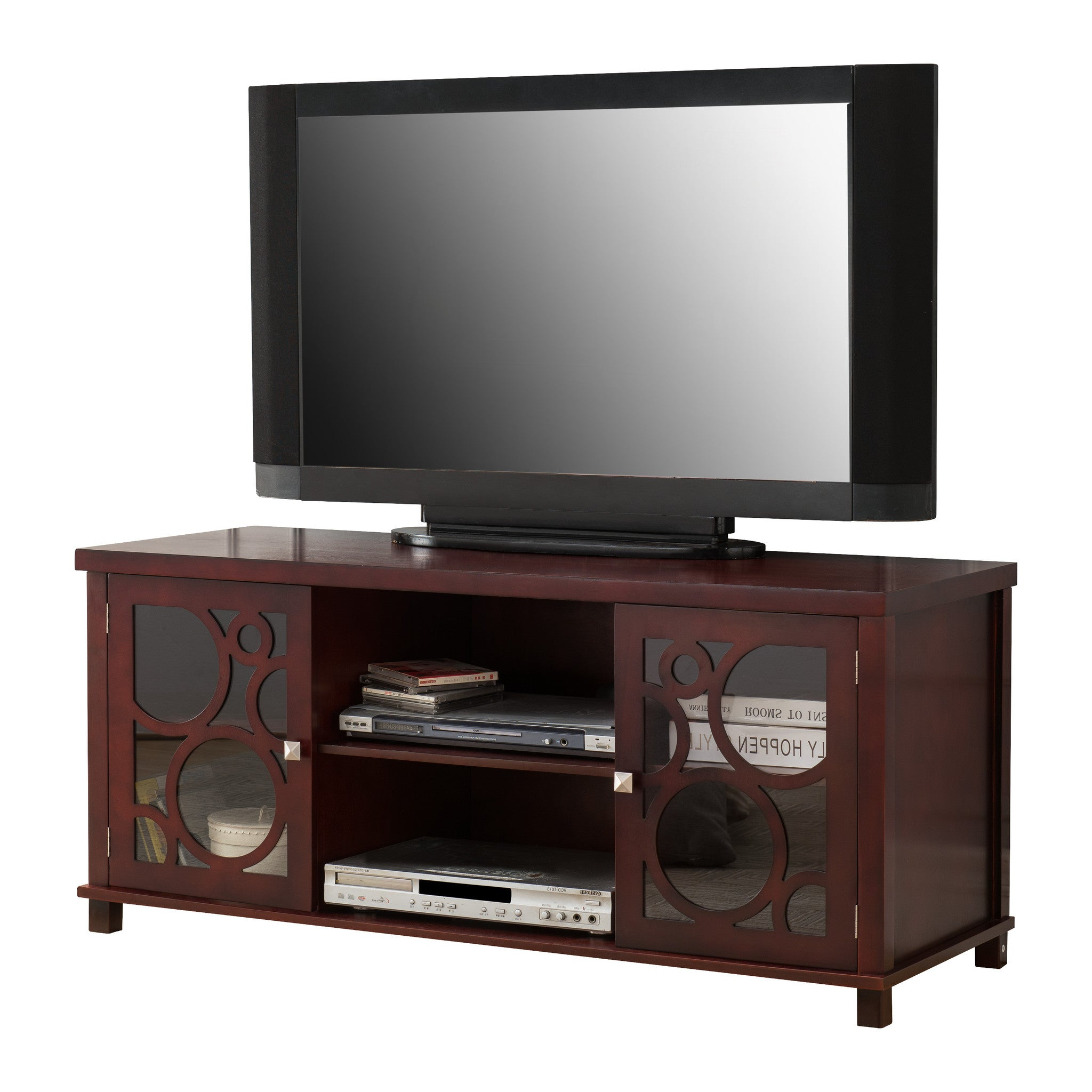 48 Cherry Wood Entertainment Center Tv Console Stand With Glass
