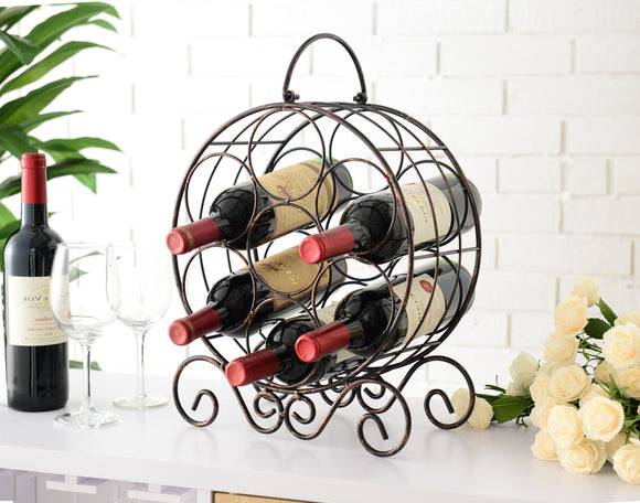 Jaden Copper Iron Transitional Counter Wine Rack Display Stand - Pilaster Designs