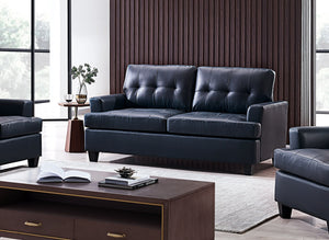 Molina Sofa, Blue Faux Leather