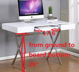 Sarai Desk, White Wood & Chrome Metal