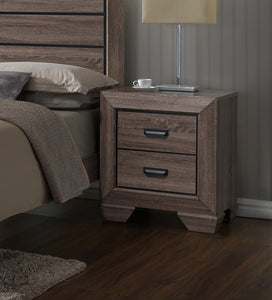 Brown Wood Modern 2 Drawer Storage Bedroom Nightstand Bedside Table - Pilaster Designs