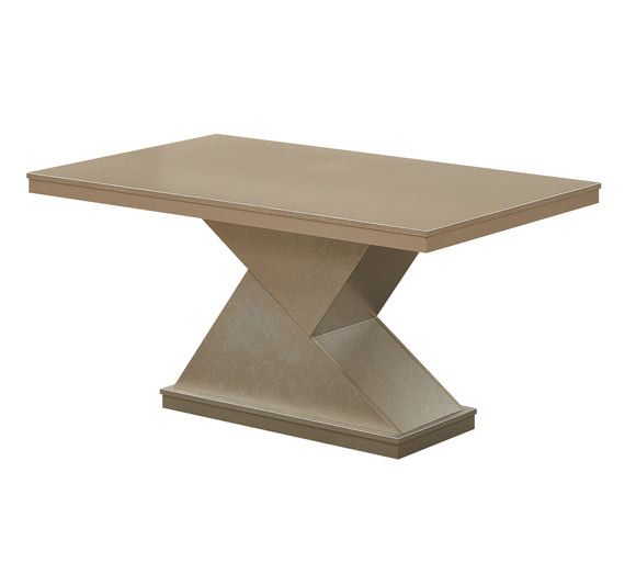 Legault Pedestal Dining Table, Gold Wood