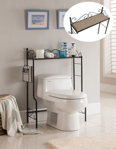Black or White With Marble Top Metal Bathroom Free Standing Shelf & Storage Rack Stand Organizer - Pilaster Designs