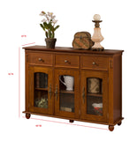 William Sideboard Buffet, Walnut Wood & Glass