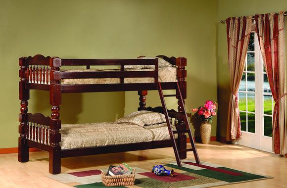 Baila Twin Size Wood Country Style Slat Post Bunk Bed (Twin Over Twin Bunkbed) (Cherry, Honey) - Pilaster Designs
